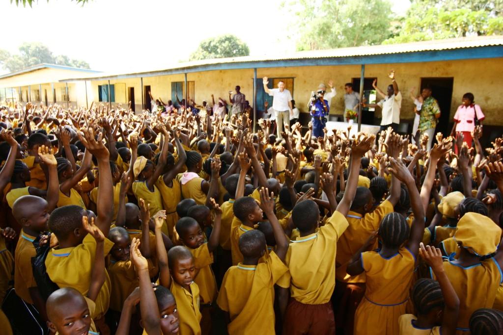Greeting schoolchildren in 2007