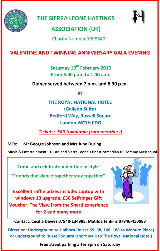 Valentine S Day Dinner Dance Hastings Sierra Leone Friendship Link